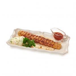 Люля-кебаб из птицы на лаваше, с маринованным белым луком и соусом сацебели