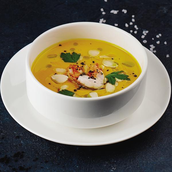 Суп-пюре из тыквы с тигровой креветкой