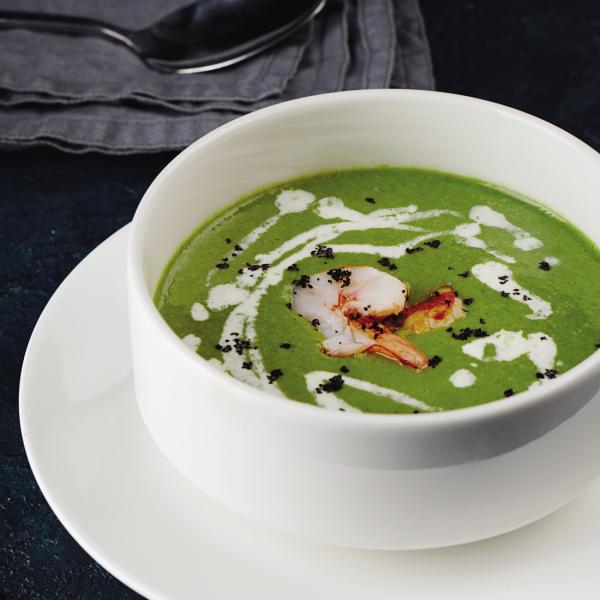 Крем-суп из шпината с тигровой креветкой