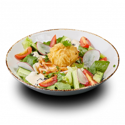 Салат с яйцом в кляре