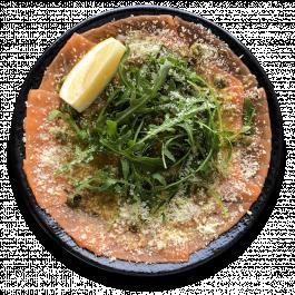 Карпаччо из лосося с лимонно-горчичным соусом