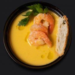 Суп-пюре из сельдерея с креветками