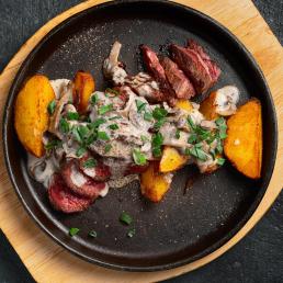 Диафрагма с картофелем и шампиньонами