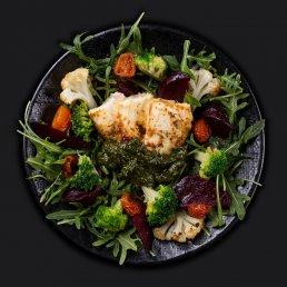 Салат с тофу и запечёнными овощами