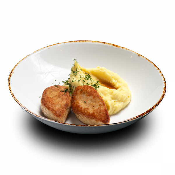 Куриные котлеты с картофельным пюре и соусом сальса