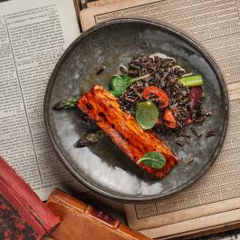 Лосось в соусе терияки с диким рисом