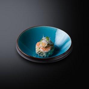 Окрошка по-японски с креветками на квасе