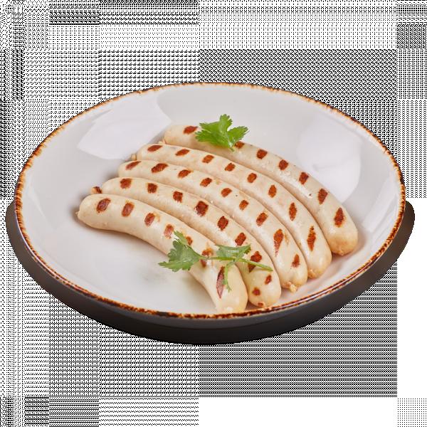 Тонкие колбаски из свинины и говядины с грибами