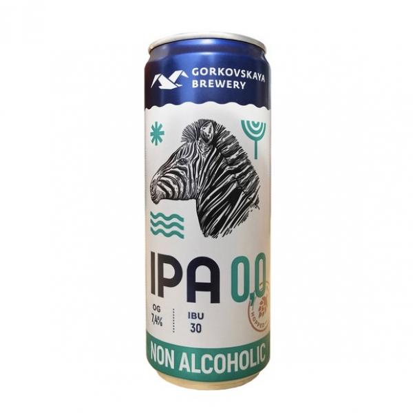 Пиво безалкогольное «Gorkovskaya Brewery IPA» свелое нефильтрованное неосветленное пастеризованное, 0.33л