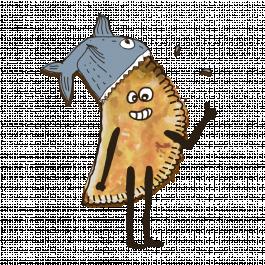 Чебурек с красной рыбой и тархуном